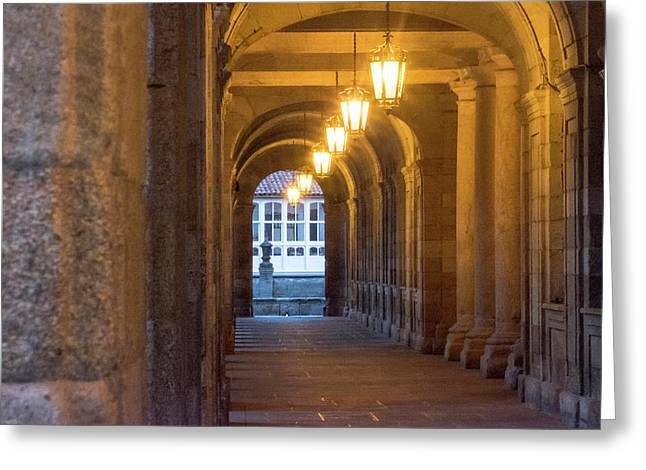 Spain, Santiago Archways And Door Greeting Card by Emily Wilson