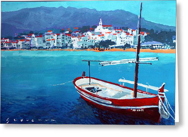 Spain Series 08 Cadaques Red Boat Greeting Card by Yuriy Shevchuk