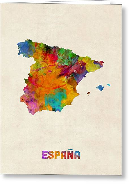 Spain Watercolor Map Greeting Card by Michael Tompsett