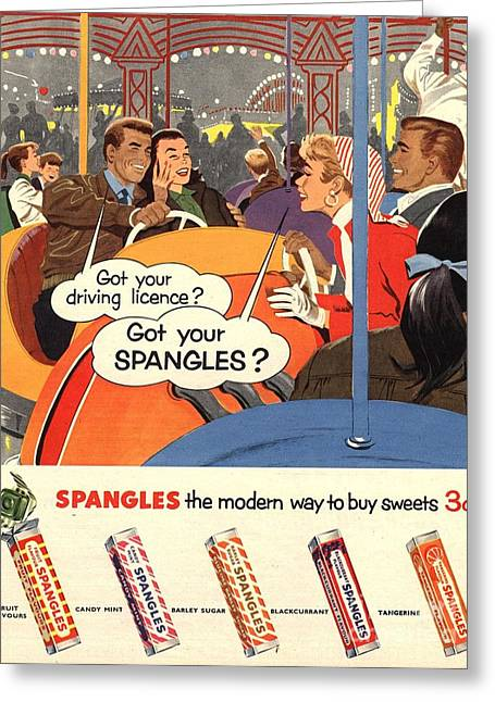 Spangles 1950s Uk Sweets Greeting Card
