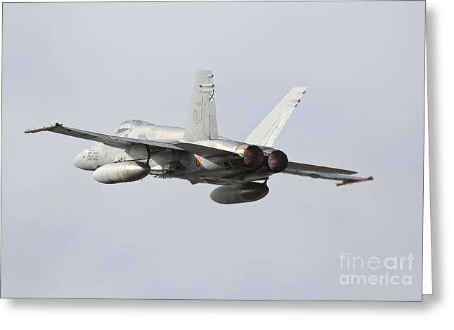 Spanish Air Force Ef-18m Hornet Taking Greeting Card by Riccardo Niccoli