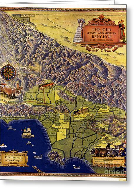 Spanish And Mexico Ranchos Greeting Card by Pg Reproductions