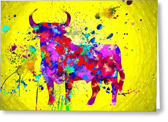 Spanish Bull Greeting Card by Daniel Janda