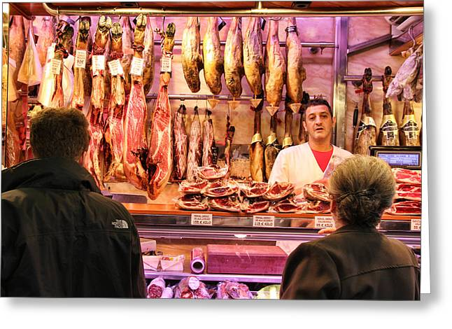 Spanish Butcher Shop Greeting Card by Nancy Ingersoll