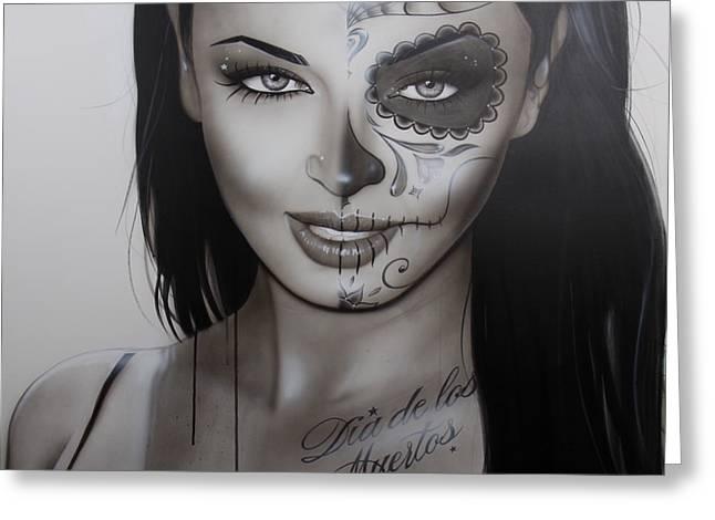 Sugar Skull - ' Spanish Dark Temptation ' Greeting Card by Christian Chapman Art