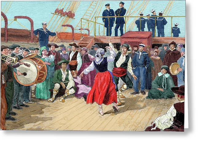Spanish Emigrants On Board A Ship Greeting Card by Prisma Archivo