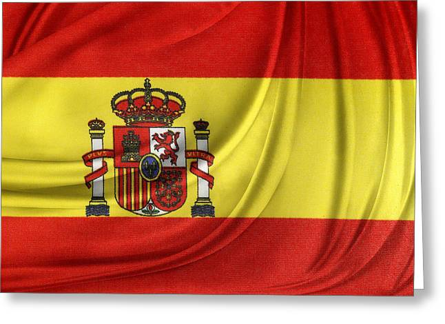 Spanish Flag Greeting Card by Les Cunliffe