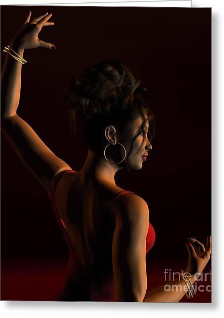 Spanish Flamenco Dancer - 1 Greeting Card by Fairy Fantasies