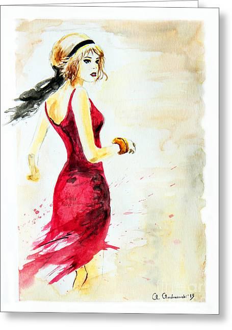Spanish Girl Greeting Card by Anna Androsovski