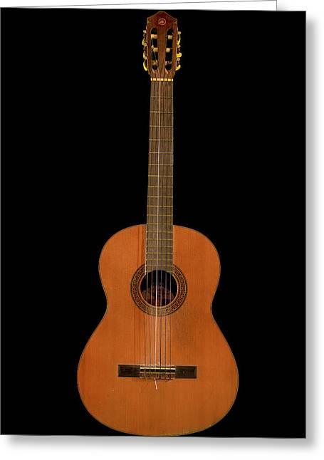Spanish Guitar On Black Greeting Card by Debra and Dave Vanderlaan