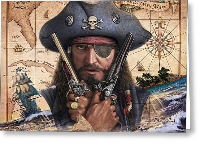 Spanish Main Pirate Greeting Card by Steve Read