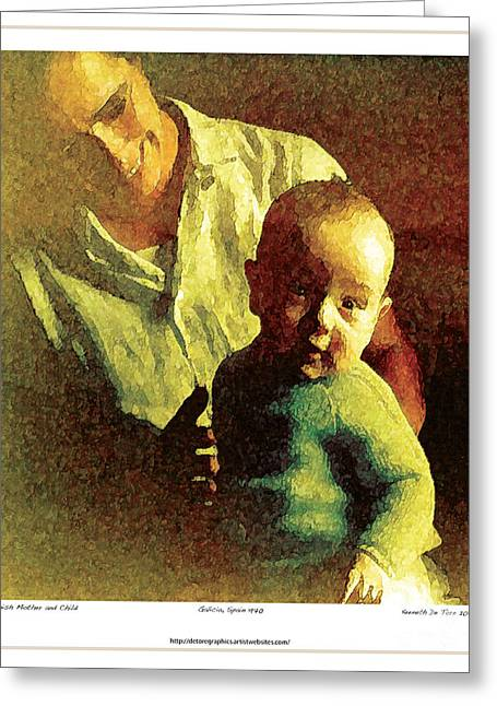 Spanish Mother And Child Greeting Card by Kenneth De Tore