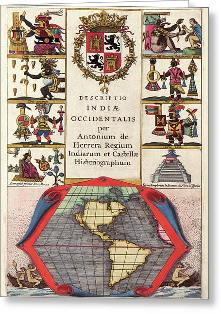 Spanish New World Atlas Title Page Greeting Card by Library Of Congress, Geography And Map Division