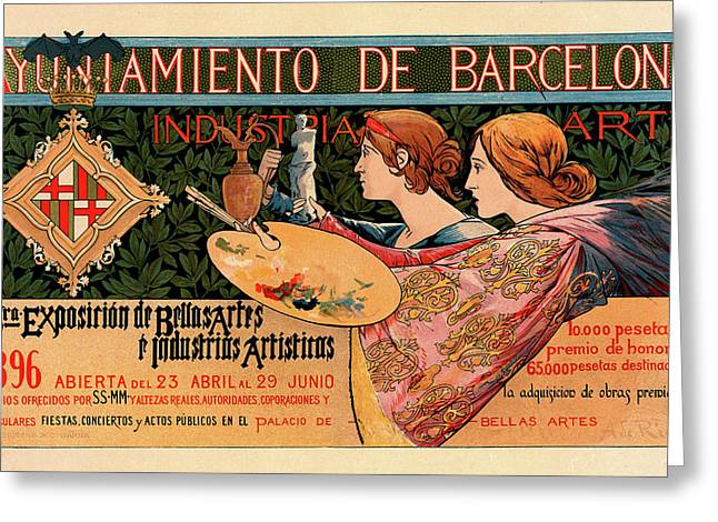 Spanish Poster For La Triosième Exposition De Barcelone Greeting Card by Liszt Collection