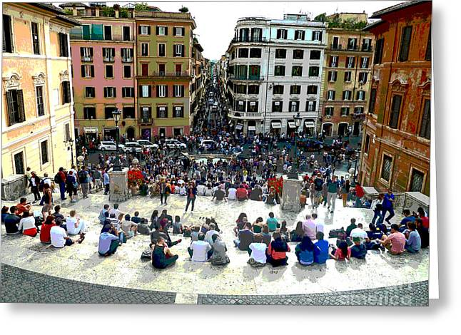 Spanish Steps Looking Down Greeting Card