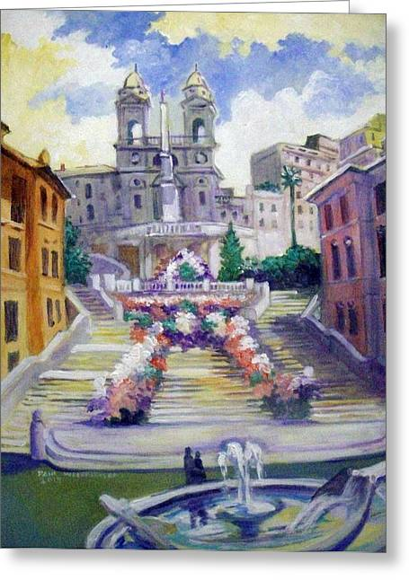 Greeting Card featuring the painting Spanish  Steps by Paul Weerasekera