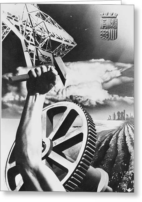 Spanish War Poster C1935-1942 Proclaiming Strength In Industry And Agriculture Greeting Card by Anonymous