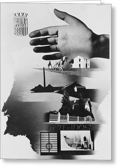 Spanish War Poster C1935-1942 The Protective Hand Of The State Shielding The Nation Greeting Card by Anonymous