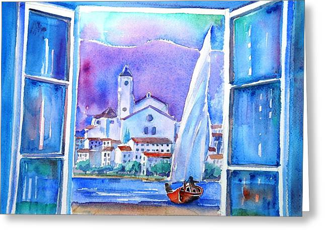 Spanish Window In Cadaques And The Church Of Santa Maria Greeting Card by Trudi Doyle