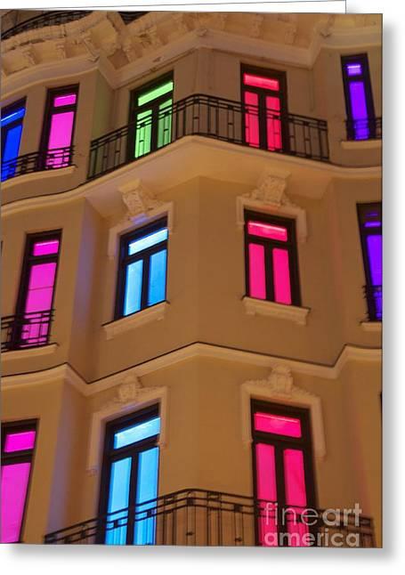 Spanish Windows Greeting Card by Cindy Lee Longhini