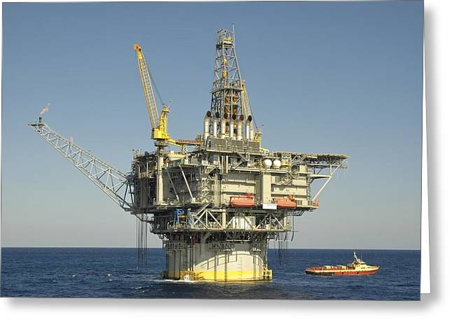 Spar Type Oil Rig With Flare And Boat Greeting Card
