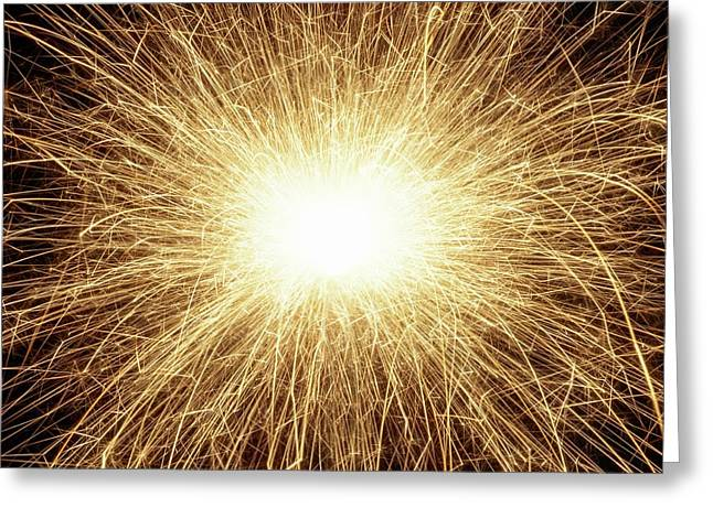 Sparkler And Sparks Greeting Card by Science Photo Library