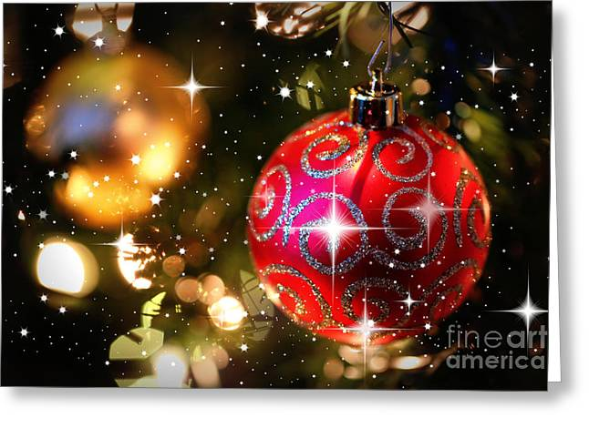 Sparkling Christmas Balls Greeting Card by Carol Groenen
