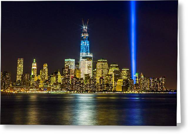 Sparkling Freedom Tower Greeting Card by Chris Halford