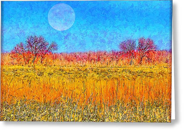 Greeting Card featuring the digital art Moonlight Over Fields Of Gold - Boulder County Colorado by Joel Bruce Wallach