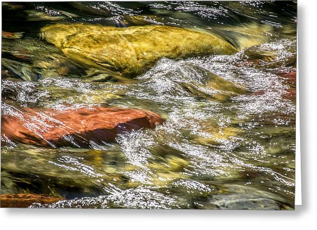Sparkling Waters Glacier National Park Greeting Card by Rich Franco