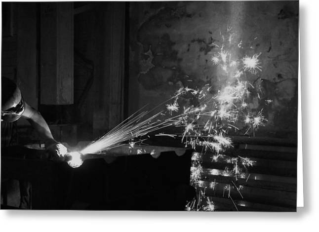 Sparks Bw Greeting Card by Elizabeth Sullivan