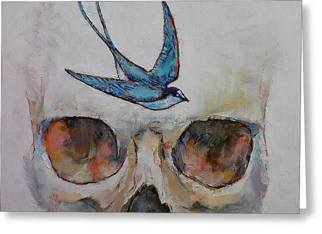Sparrow Greeting Card by Michael Creese