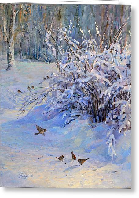 Sparrow On Snow Greeting Card