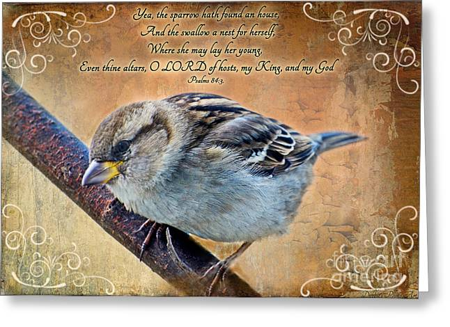 Sparrow With Verse Greeting Card by Debbie Portwood