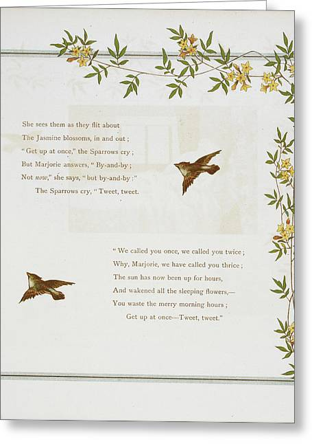 Sparrows And Jasmine Blossoms Greeting Card by British Library