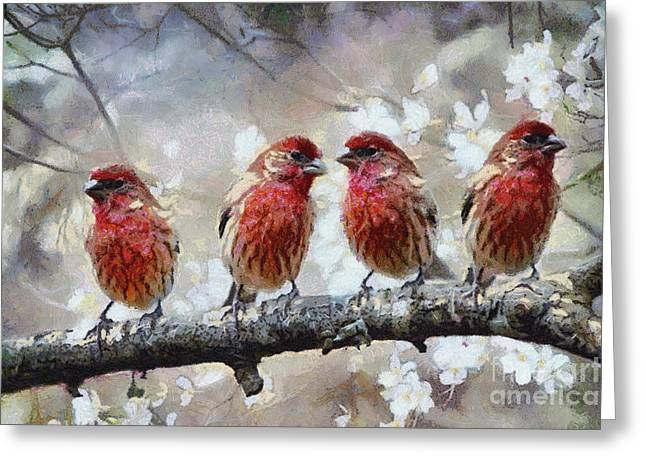 Greeting Card featuring the painting Sparrows by Georgi Dimitrov
