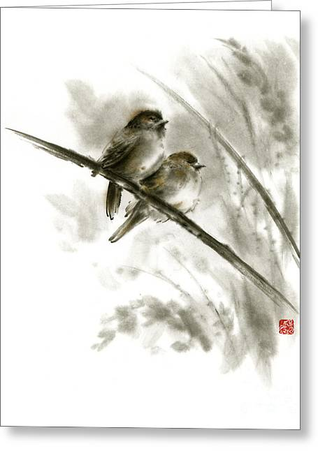 Sparrows Sumi-e Original Ink Painting Artwork Greeting Card