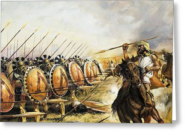 Spartan Army Greeting Card by Andrew Howat