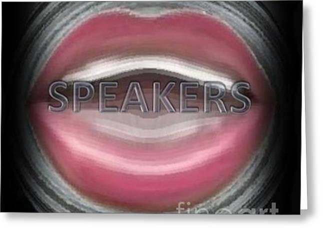 Greeting Card featuring the digital art Speakers by Catherine Lott