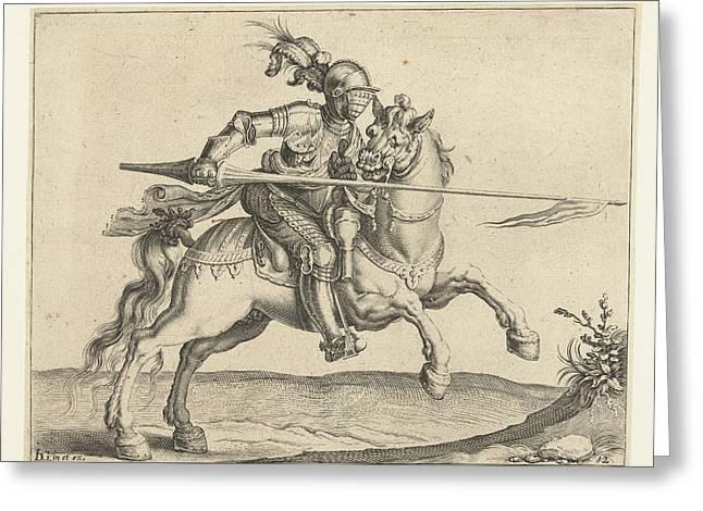 Spear Rider, Offensive Right, Jacob De Gheyn II Greeting Card by Jacob De Gheyn (ii)