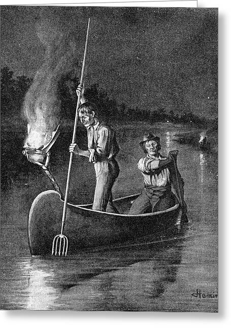 Spearing Salmon, 1894 Greeting Card by Granger