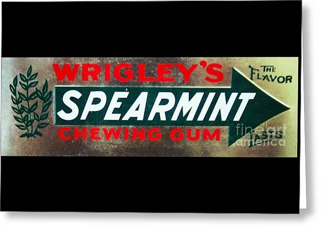 Spearmint Gum Sign Vintage Greeting Card by Saundra Myles