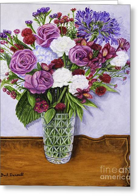 Special Bouquet In Crystal Vase On Heirloom Table Greeting Card by Gail Darnell