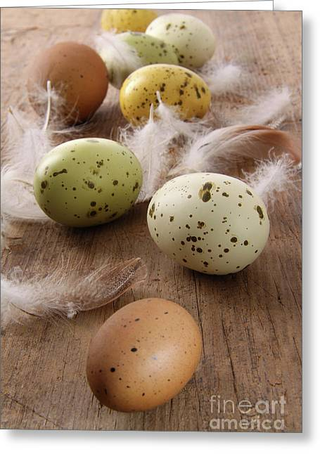 Speckled Easter Eggs  On Wooden Table  Greeting Card by Sandra Cunningham
