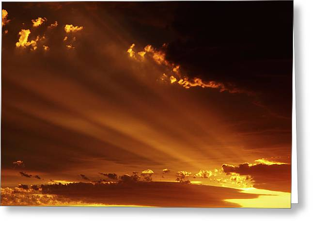 Spectacular Sunset Over Mossburn Greeting Card