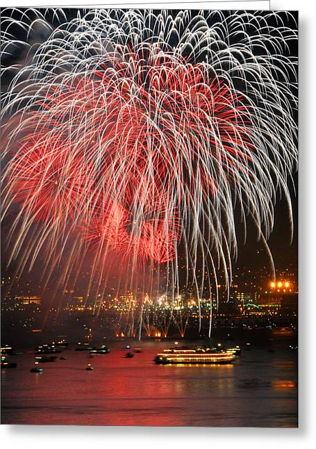 Spectator Boats Beneath A San Francisco 4th Of July Fireworks Show Greeting Card by Scott Lenhart