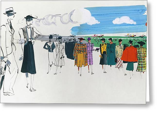 Spectators At A Horse Race Greeting Card by Jean Pag?s