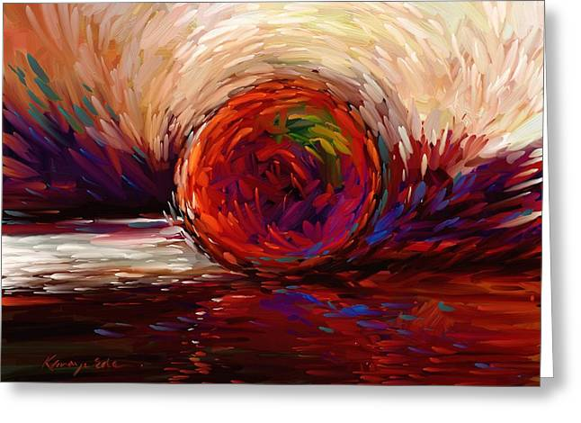 Speed - Dramatic Red And  Purple Abstract Print On Canvas Greeting Card by Kanayo Ede