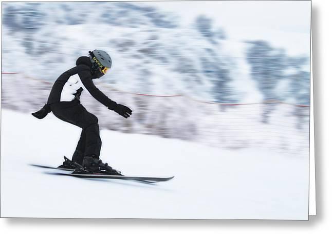 Speed On Snow Greeting Card by Vlad Baciu