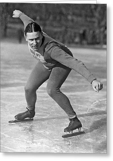 Speed Skater At Start Greeting Card by Underwood Archives